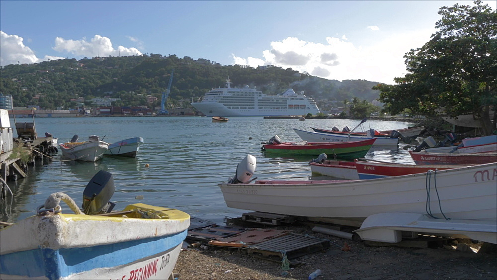 Crane shot of cruise ship from Fish Marketing Corporation boat marina, Castries, St. Lucia, Windward Islands, West Indies, Caribbean, Central America