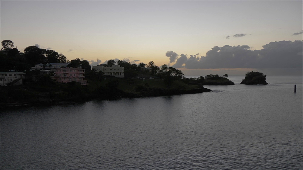 Onboard cruise ship shot of Castries leaving port at dusk, Castries, St. Lucia, Windward Islands, West Indies, Caribbean, Central America