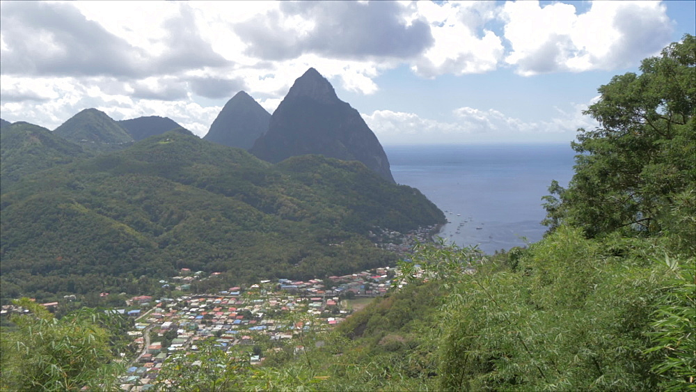 Crane shot of Soufriere with the Pitons, UNESCO World Heritage Site, St. Lucia, Windward Islands, West Indies Caribbean, Central America
