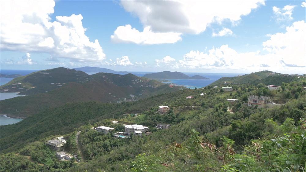 Crane shot of north of Tortola from Ridge Road with views of Guana Island, Tortola, British Virgin Islands, West Indies, Caribbean, Central America