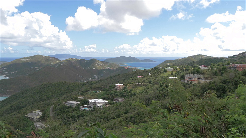 Shot of north of Tortola from Ridge Road with views of Guana Island, Tortola, British Virgin Islands, West Indies, Caribbean, Central America