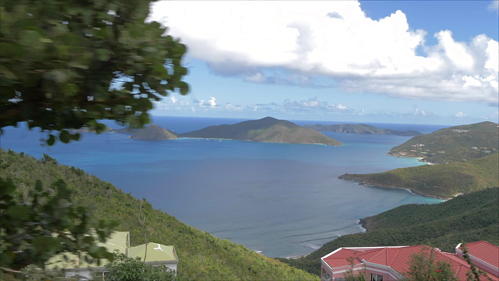 Onboard taxi shot to north of Tortola from Ridge Road with views of Guana Island, Tortola, British Virgin Islands, West Indies, Caribbean, Central America