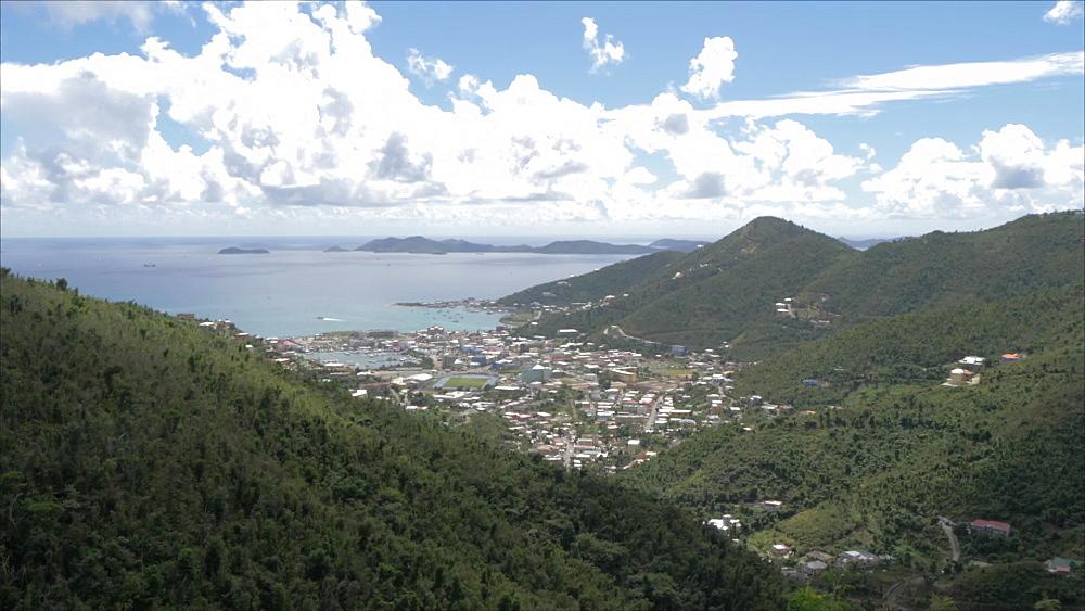 Crane shot of Road Town from Ridge Road, Tortola, British Virgin Islands, West Indies, Caribbean, Central America