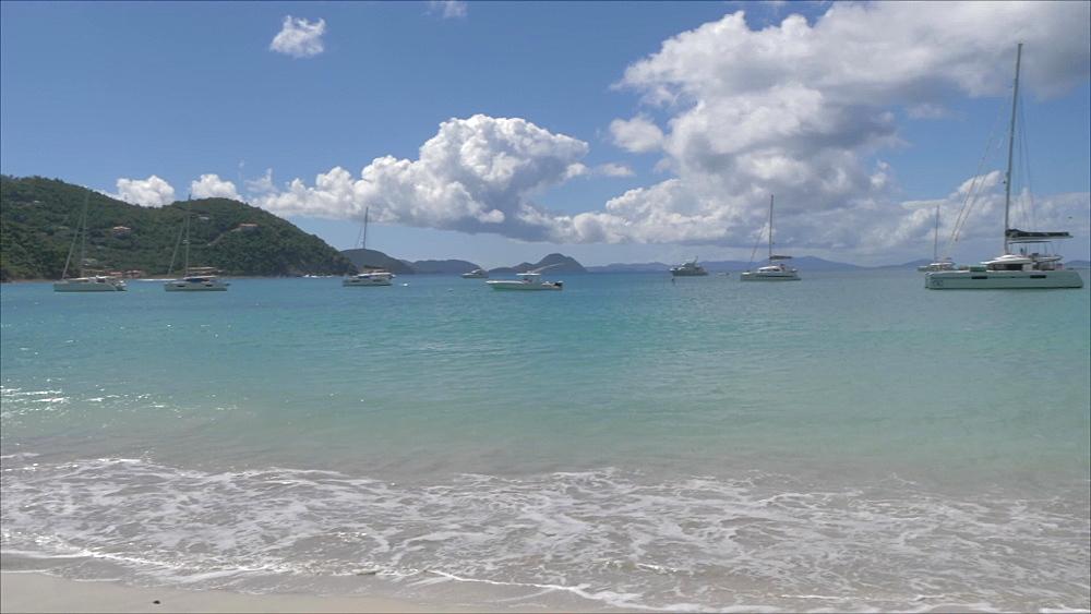 Crane shot of Cane Garden Bay Beach, Tortola, British Virgin Islands, West Indies, Caribbean, Central America