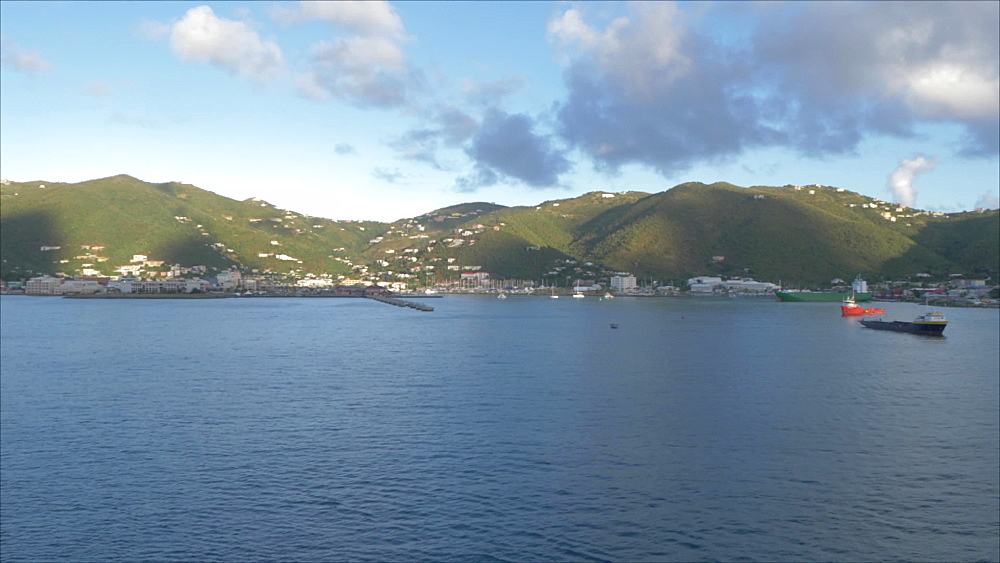 Onboard cruise ship view approaching Road Town, Tortola, British Virgin Islands, West Indies, Caribbean, Central America