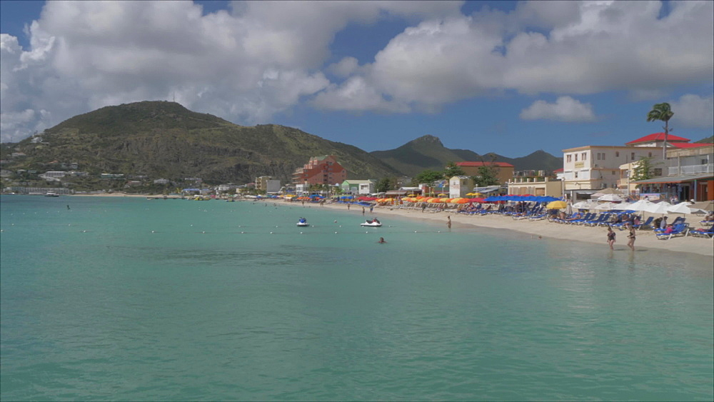 Beach and town of Philipsburg, Philipsburg, St. Maarten, Dutch Antilles, West Indies, Caribbean, Central America