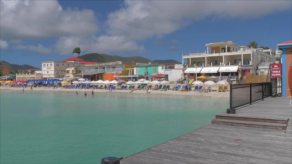 Beach and town of Philipsburg, Philipsburg, St. Maarten, Dutch Antilles, West Indies, Caribbean, Central America