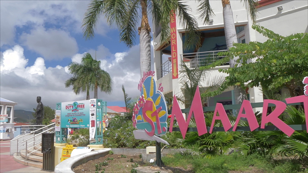 View of St. Maarten sign and duty free area at cruise ship terminal, Philipsburg, St. Maarten, Dutch Antilles, West Indies, Caribbean, Central America