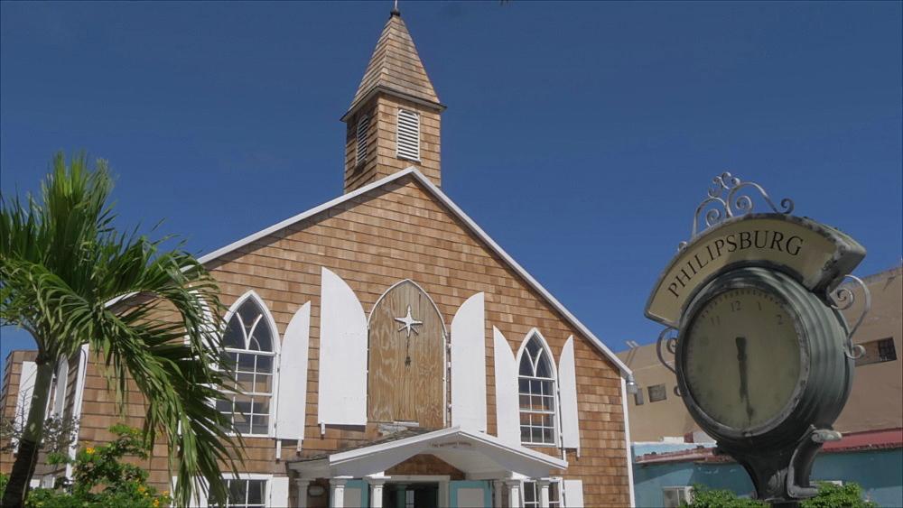 Methodist Church on Front Street in Philipsburg, Philipsburg, St. Maarten, Dutch Antilles, West Indies, Caribbean, Central America