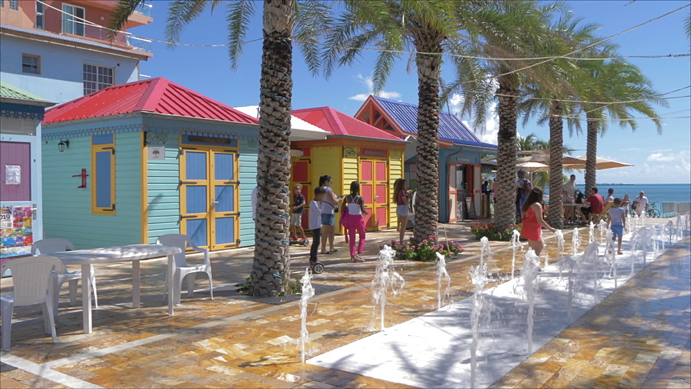 Fountains and colourful huts on Front Street in Philipsburg, Philipsburg, St. Maarten, Dutch Antilles, West Indies, Caribbean, Central America
