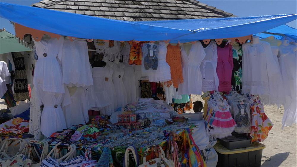 Stalls on beach in Philipsburg, Philipsburg, St. Maarten, Dutch Antilles, West Indies, Caribbean, Central America
