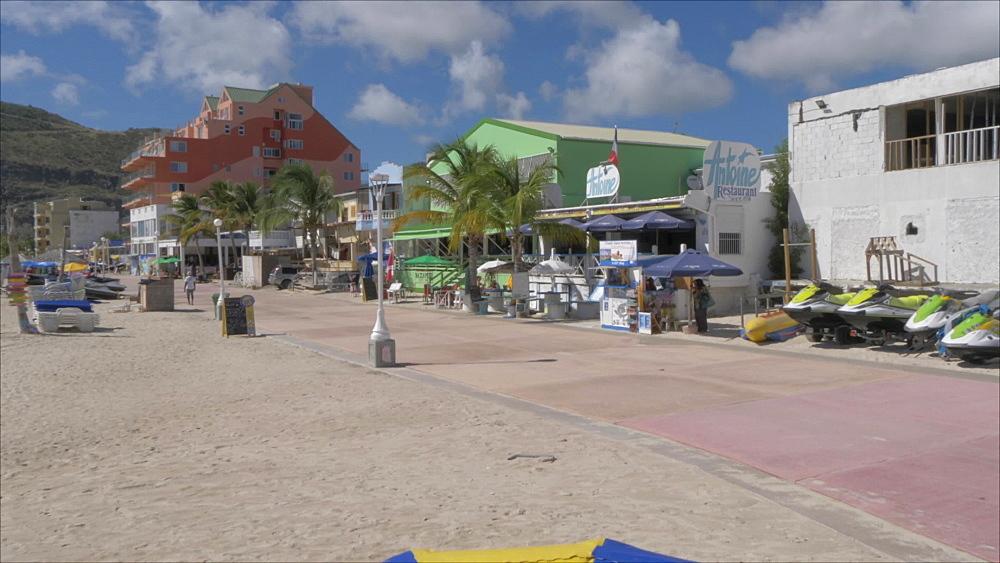 Bars on beach in Philipsburg, Philipsburg, St. Maarten, Dutch Antilles, West Indies, Caribbean, Central America