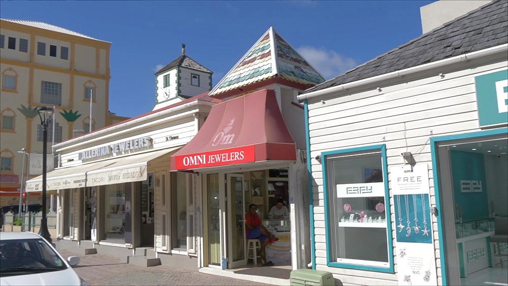 Shops on Front Street in Philipsburg, Philipsburg, St. Maarten, Dutch Antilles, West Indies, Caribbean, Central America