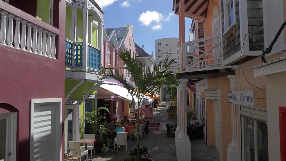 Crane shot of Old Street in Philipsburg, Philipsburg, St. Maarten, Dutch Antilles, West Indies, Caribbean, Central America