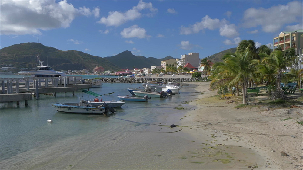 Crane shot of harbour boats, beach and the town of Philipsburg, Philipsburg, St. Maarten, Dutch Antilles, West Indies, Caribbean, Central America