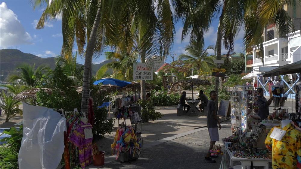 Beachside shops and bars of Philipsburg, Philipsburg, St. Maarten, Dutch Antilles, West Indies, Caribbean, Central America