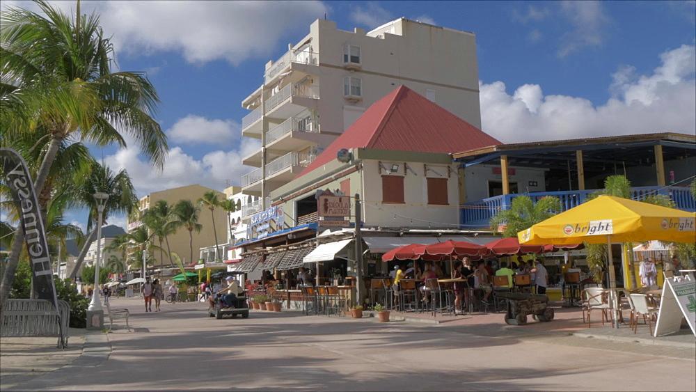 Beachside shops and bars in Philipsburg, Philipsburg, St. Maarten, Dutch Antilles, West Indies, Caribbean, Central America