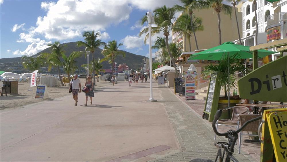 Beachside bar and path in Philipsburg, Philipsburg, St. Maarten, Dutch Antilles, West Indies, Caribbean, Central America