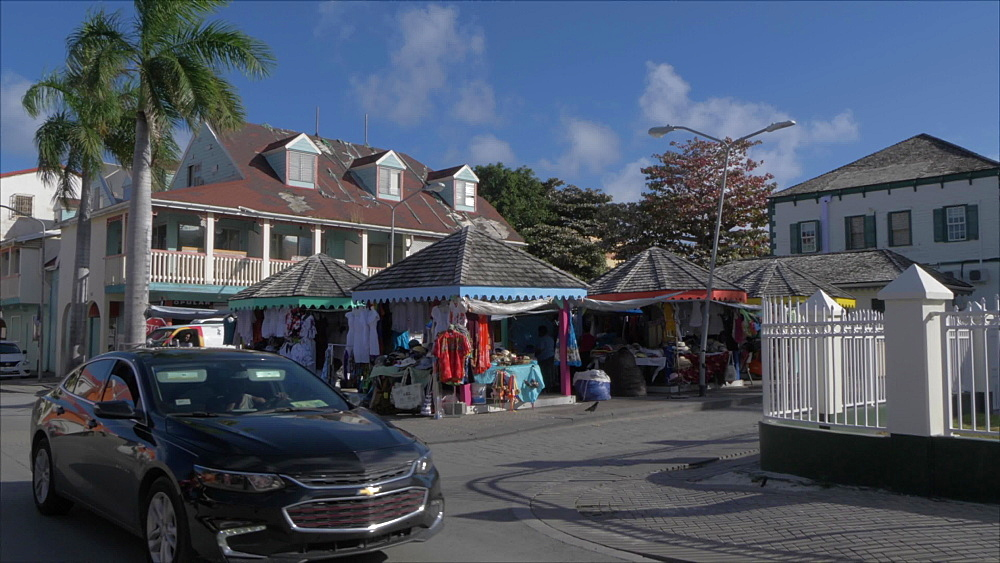 Taxi and market stalls on Back Street in Philipsburg, Philipsburg, St. Maarten, Dutch Antilles, West Indies, Caribbean, Central America