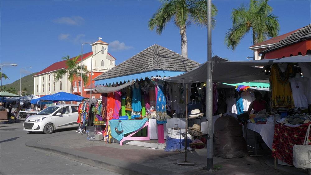 Market stalls on Back Street in Philipsburg, Philipsburg, St. Maarten, Dutch Antilles, West Indies, Caribbean, Central America
