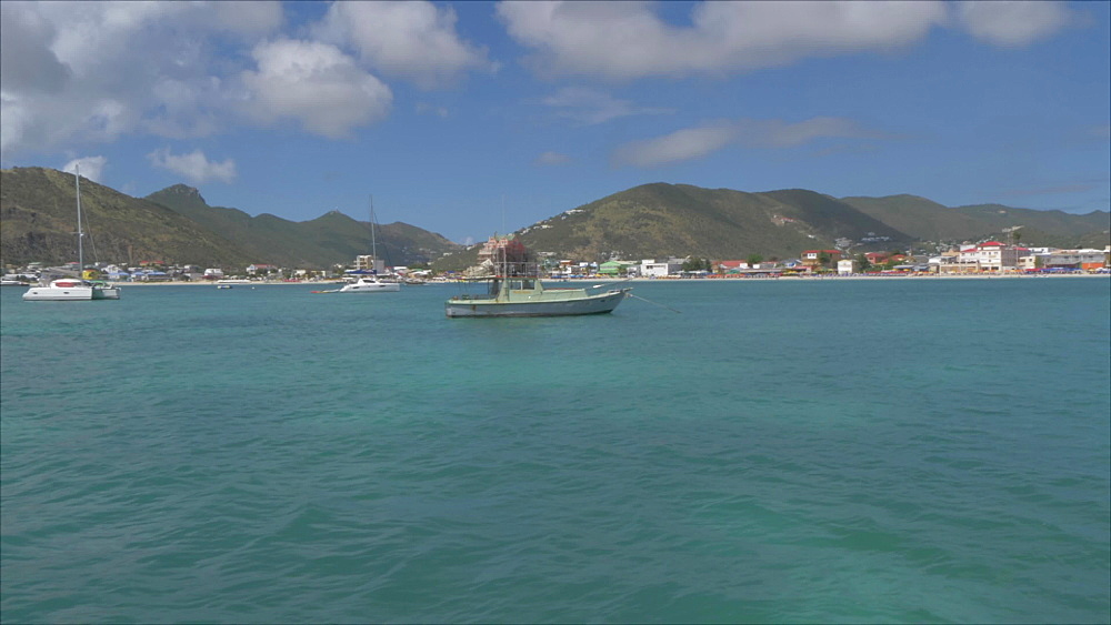 Onboard water taxi view from cruise ship terminal approaching town, Philipsburg, St. Maarten, Dutch Antilles, West Indies, Caribbean, Central America