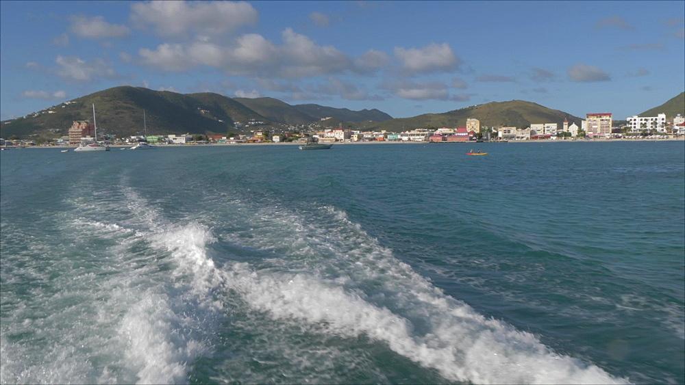 Onboard water taxi view of Philipsburg, Philipsburg, St. Maarten, Dutch Antilles, West Indies, Caribbean, Central America