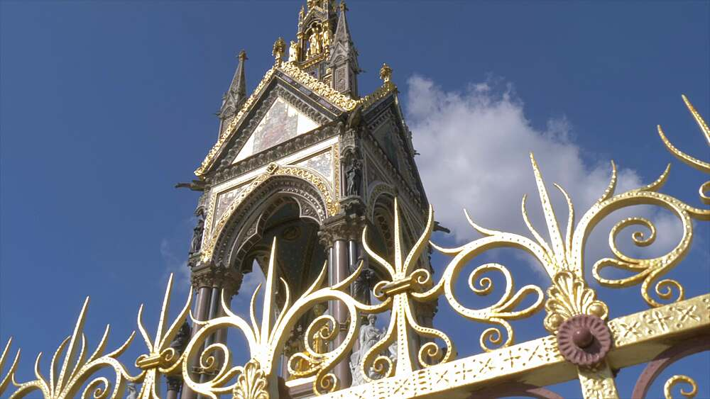Slider shot of The Albert Memorial in Hyde Park in springtime, London, England, United Kingdom, Europe