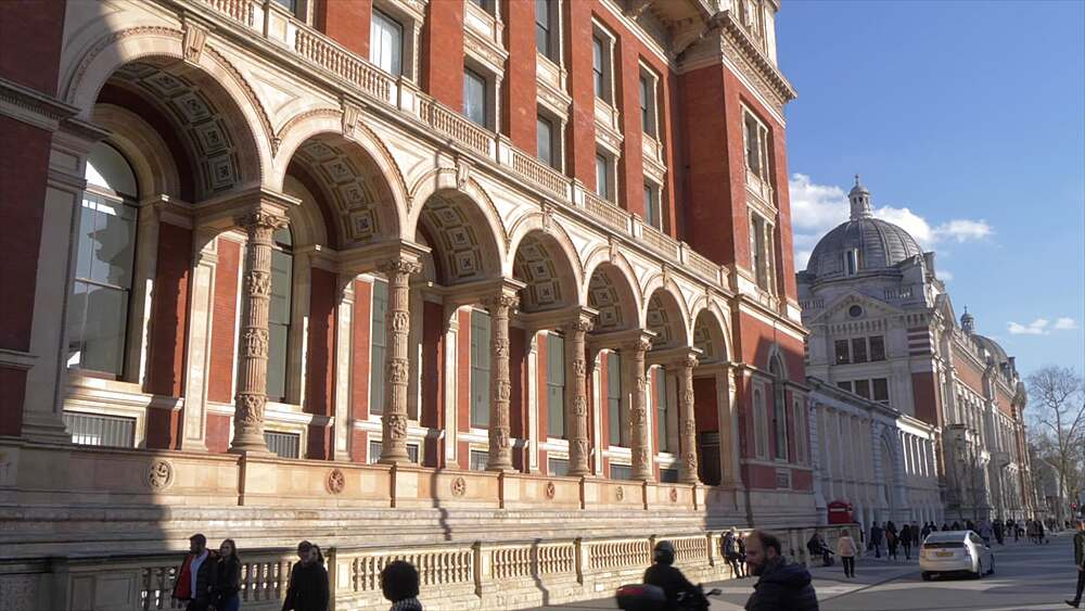 Victoria and Albert Museum on Exhibition Road in springtime, South Kensington, London, England, United Kingdom, Europe