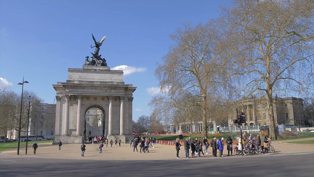 Wellington Arch in springtime, Hyde Park Corner, London, England, United Kingdom, Europe
