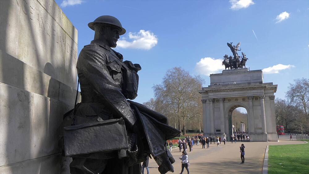Crane shot of Royal Artillery Memorial and Wellington Arch in springtime, London, England, United Kingdom, Europe