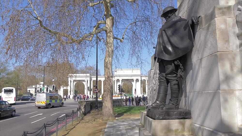 Crane shot of Royal Artillery Memorial in springtime, London, England, United Kingdom, Europe