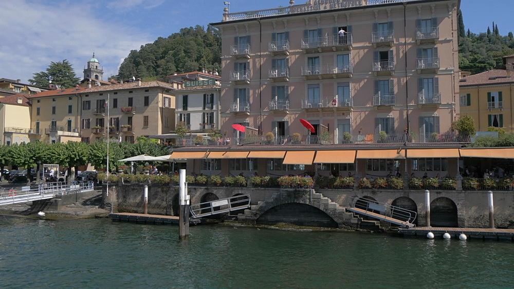 Onboard ferry shot leaving lakeside town of Bellagio, Bellagio, Lake Como, Lombardy, Italian Lakes, Italy, Europe