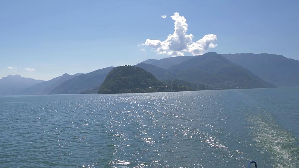 Onboard ferry shot on Lake Como Bellagio, Bellagio, Lake Como, Lombardy, Italian Lakes, Italy, Europe