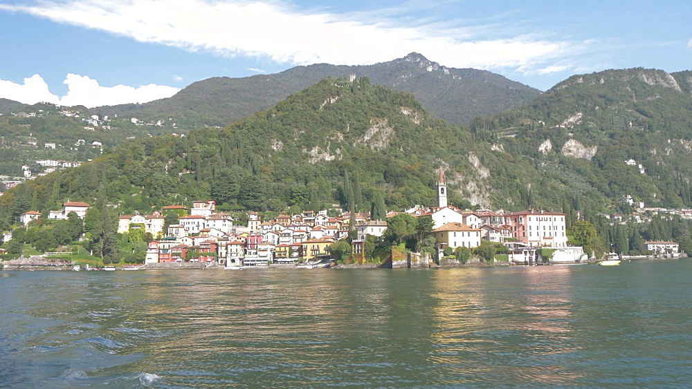 Onboard ferry shot leaving lakeside town of Varenna, Varenna, Lake Como, Lombardy, Italian Lakes, Italy, Europe