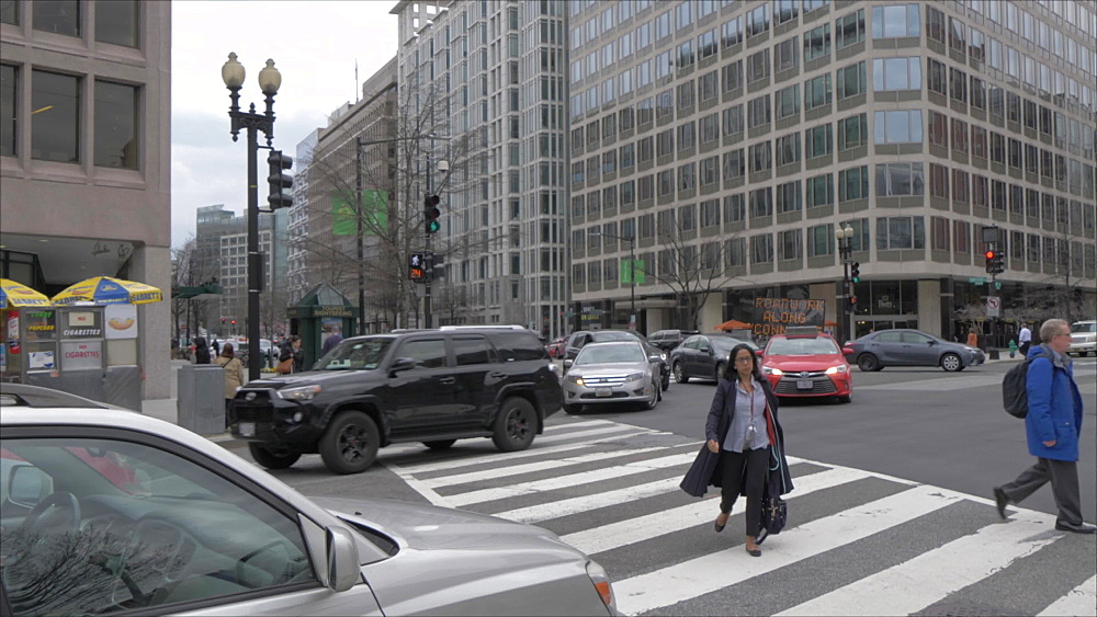 View of pedestrians and traffic on 17th Street, Washington DC, United States of America, North America