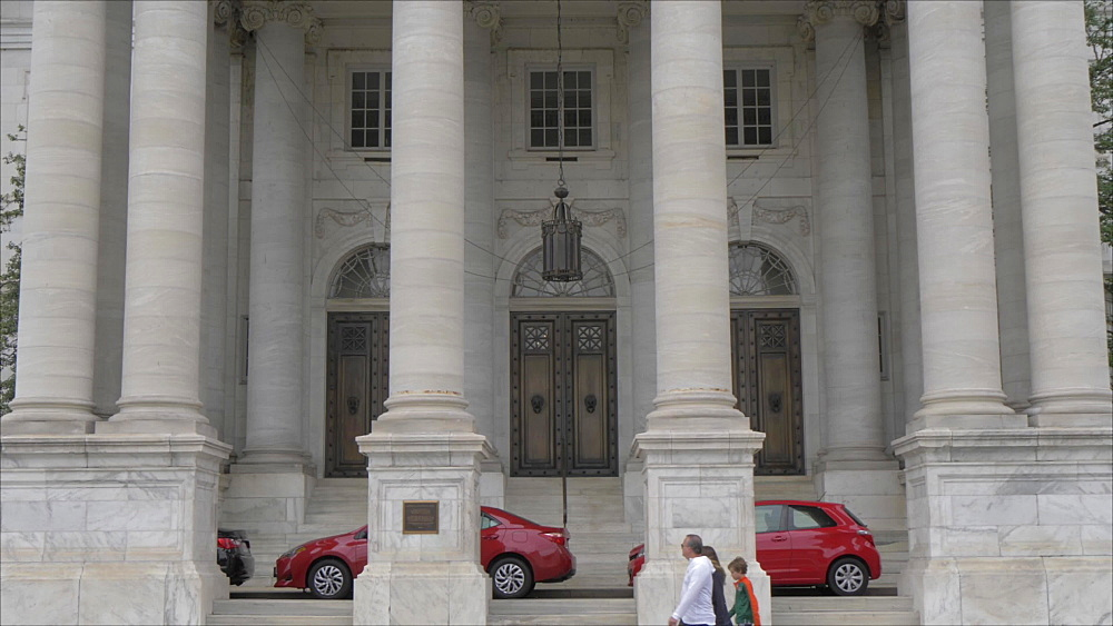 View of front facade of DAR Constitution Hall on 17th Street, Washington DC, United States of America, North America