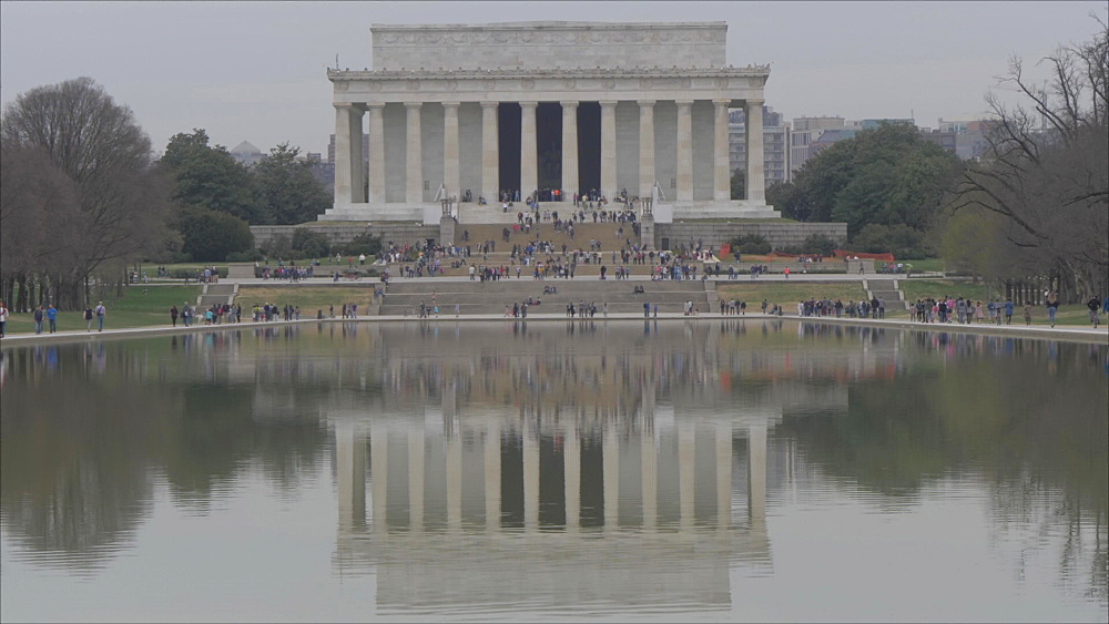 The Lincoln Memorial as viewed from Reflecting Pool, Washington DC, United States of America, North America