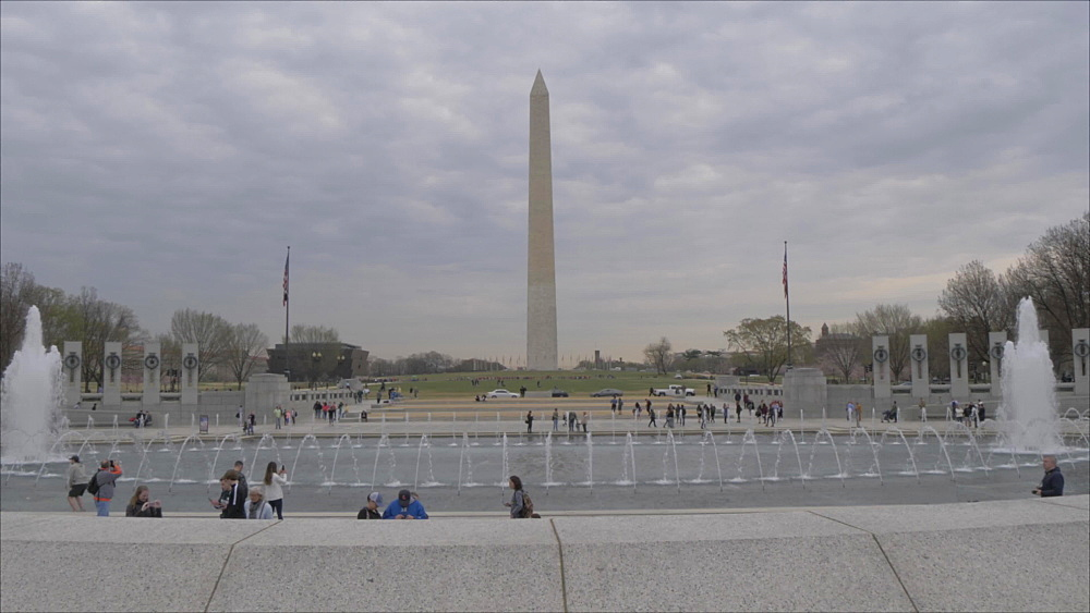 Washington Memorial as viewed from World War ll Memorial, Washington DC, United States of America, North America