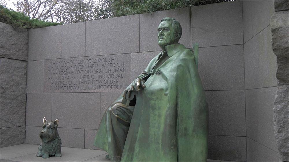 Pan shot of Franklin Delano Roosevelt Memorial, Washington DC, District of Columbia, USA