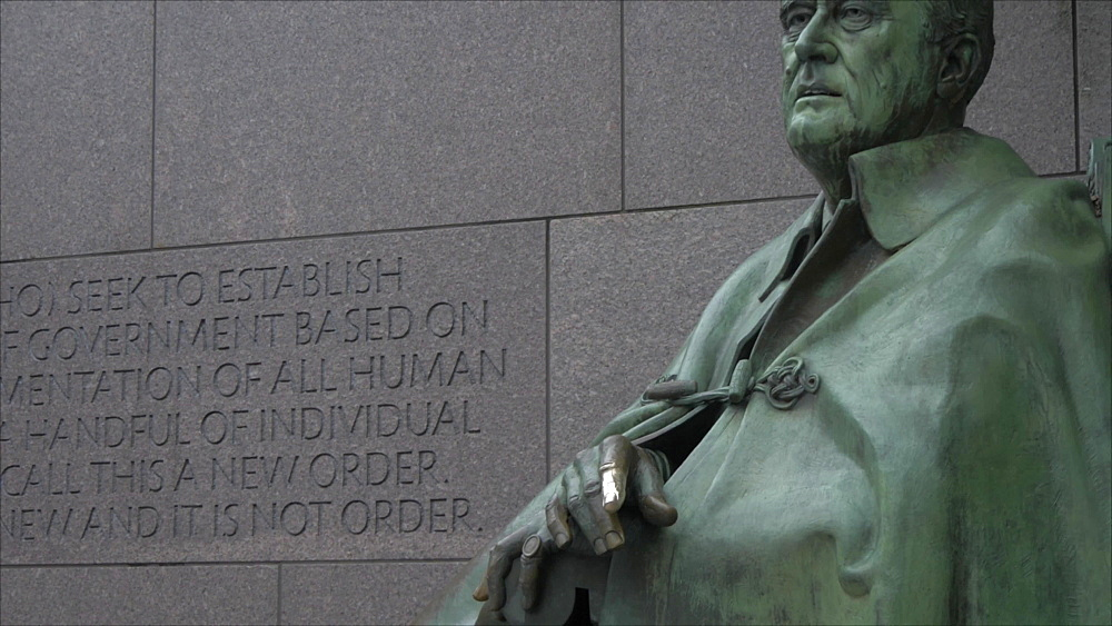 Shot of scripture and Franklin Delano Roosevelt Memorial, Washington DC, United States of America, North America