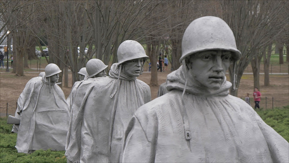 Korean War Veterans Memorial on overcast day, Washington DC, United States of America, North America