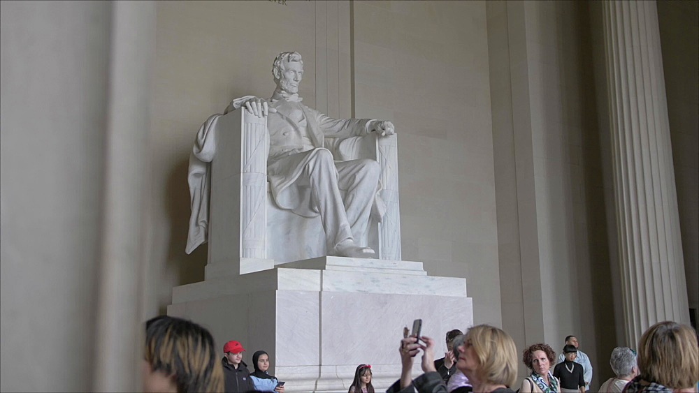Pan shot of interior of Lincoln Memorial in daytime, Washington DC, District of Columbia, USA - 844-20076