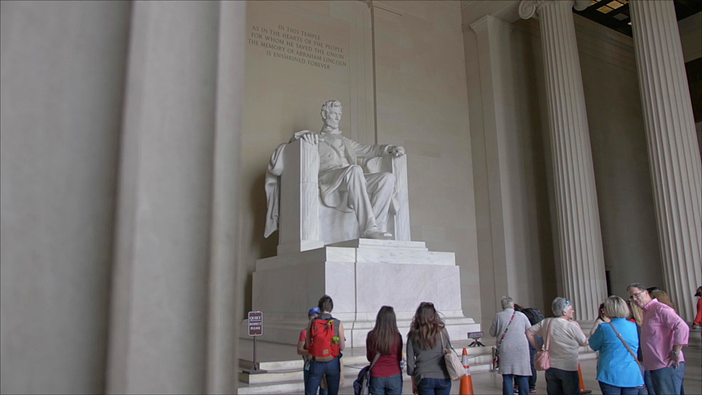 Interior of Lincoln Memorial in daytime, Washington DC, United States of America, North America