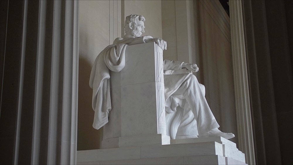 Tilt shot of interior of Lincoln Memorial in daytime, Washington DC, District of Columbia, USA