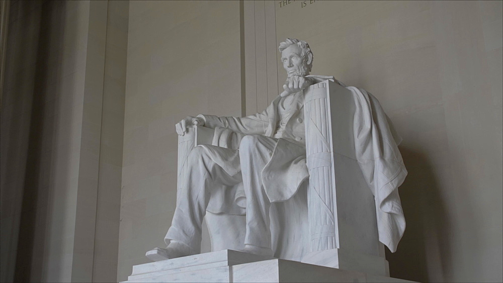 Zoom in shot of interior of Lincoln Memorial in daytime, Washington DC, District of Columbia, USA