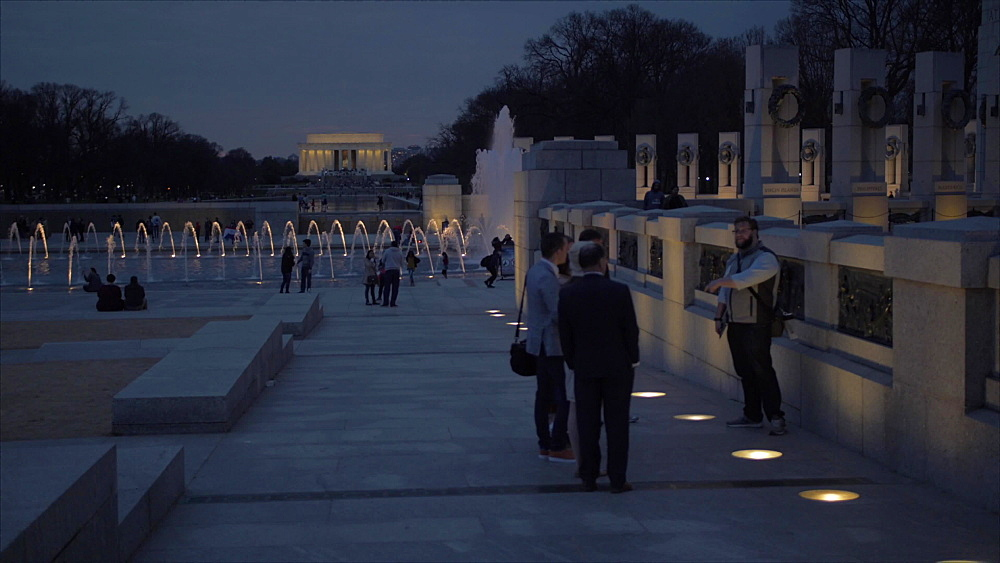 World War ll and Lincoln Memorial at dusk, Washington DC, United States of America, North America