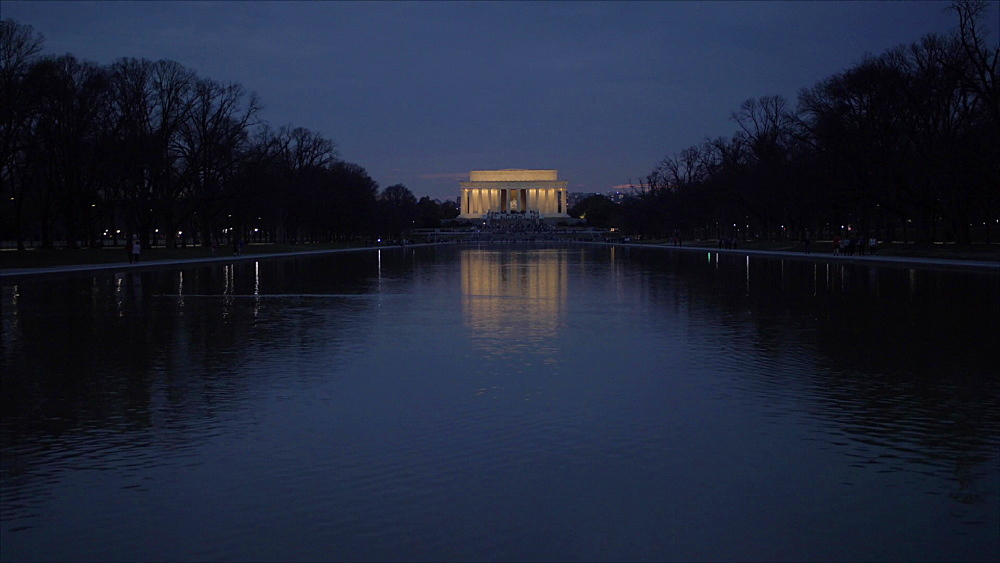 Still shot of Lincoln Memorial and Reflecting Pool at dusk, Washington DC, District of Columbia, USA