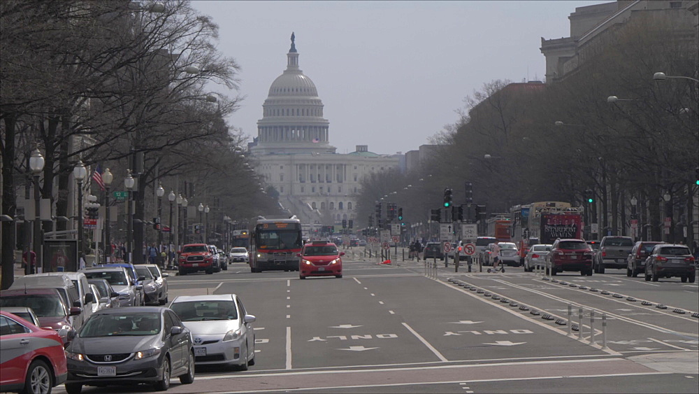 United States Capitol Building and traffic on Pennsylvania Avenue, Washington DC, United States of America, North America