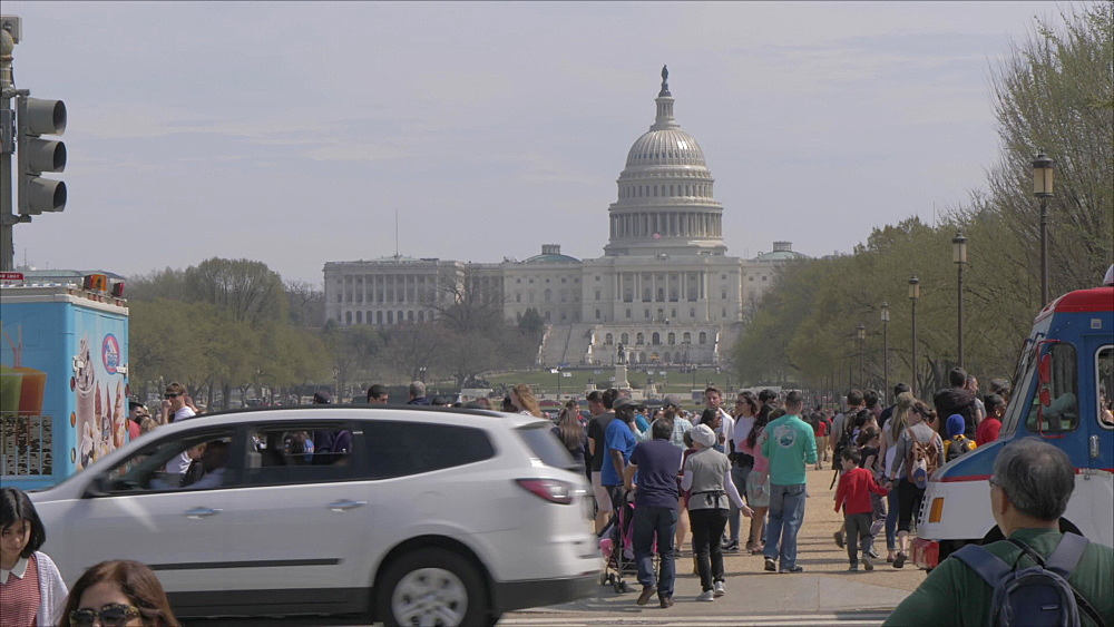 People and activities on National Mall, US Capitol in background, Washington DC, United States of America, North America