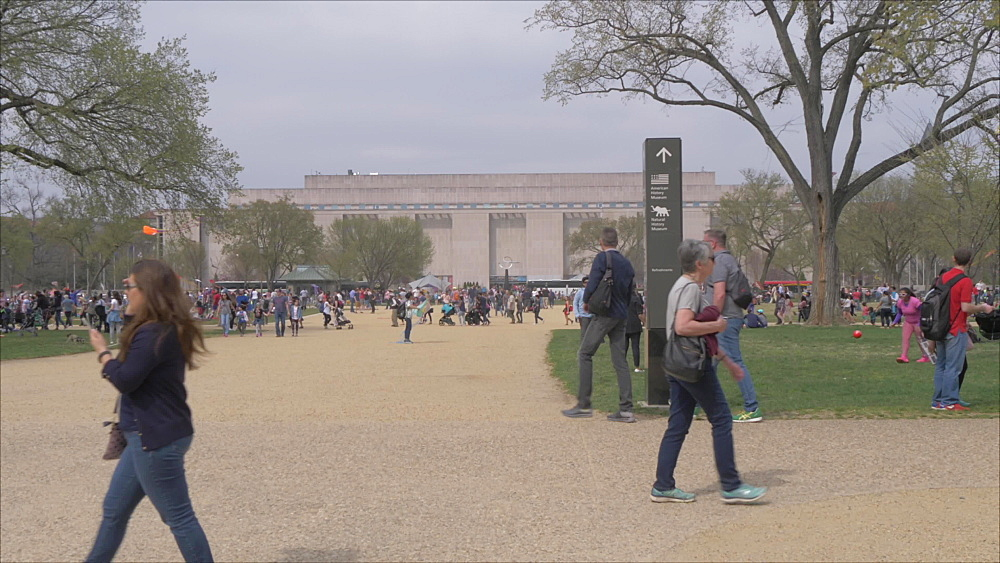 People on National Mall and Smithsonian National Museum of American History, Washington DC, United States of America, North America